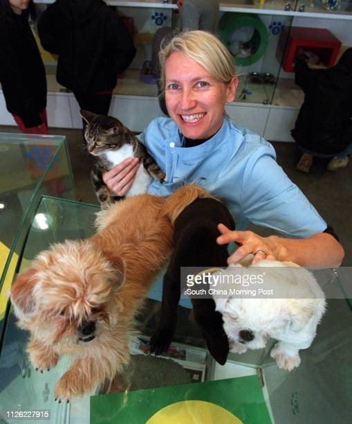 Chief veterinary surgeon Dr Margaret Bradley of the Society for the Prevention of Cruelty to Animals is pictured with dogs and cats awaiting adoption...