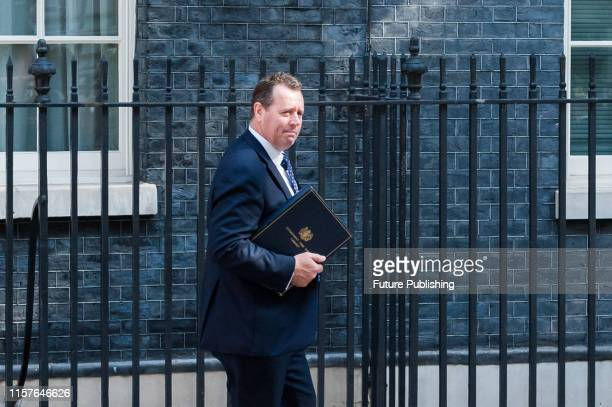 Chief Whip and Parliamentary Secretary to the Treasury Mark Spencer leaves 10 Downing Street after Boris Johnson's first cabinet meeting as Prime...
