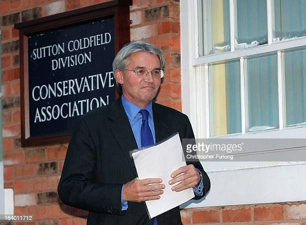 Chief Whip Andrew Mitchell leaves his constituency office after a private meeting with members of The Police Federation on October 12 2012 in Sutton...