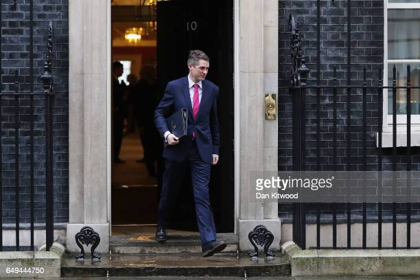 Chief Whip Gavin Williamson leaves a PreBudget Cabinet meeting at Downing Street on March 8 2017 in London England Today's Budget will be the last...