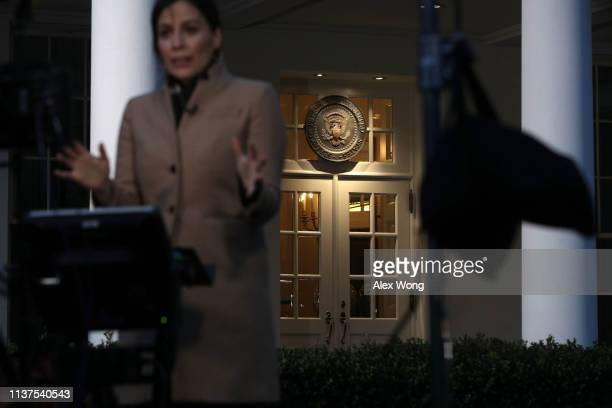 Chief White House Correspondent Hallie Jackson reports in front of the West Wing of the White House on March 22 2019 in Washington DC Key...