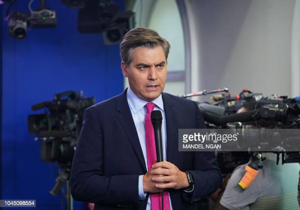 CNN chief White House correspondent Jim Acosta is seen before a briefing by White House Press Secretary Sarah Sanders in the Brady Briefing Room of...