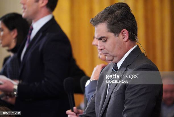 CNN chief White House correspondent Jim Acosta is seen before the start of a press conference by US President Donald Trump in the East Room of the...