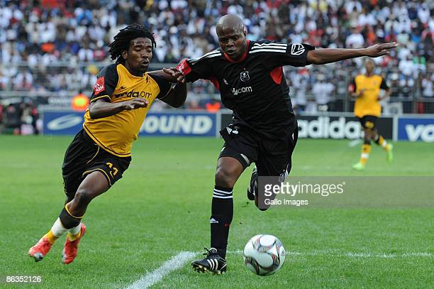 Chiefs Abia Nale and Pirates defender Lucas Thwala during the Absa Premiership match between Orlando Pirates and Kaizer Chiefs from Coca Cola Park on...