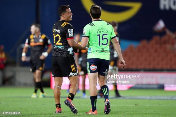Chiefs Anton LienertBrown and Highlanders Ben Smith during the Chiefs v Highlanders Super Rugby Round 1 match at FMG Stadium Hamilton on February 15...