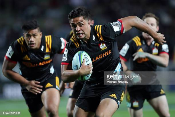 Chiefs Anton LienertBrown runs the ball forward during the round 9 Super Rugby match between the Chiefs and the Blues at FMG Stadium on April 13 2019...