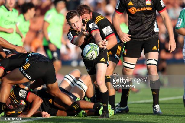 Chiefs Brad Weber passes the ball during the Chiefs v Highlanders Super Rugby Round 1 match at FMG Stadium Hamilton on February 15 2019 in Hamilton...