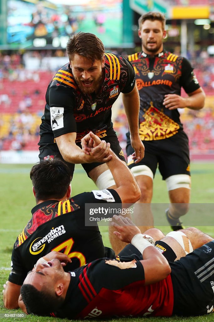 Chiefs celebrate a try by Luke Jacobson during the Rugby Global Tens Final match between Chiefs and Crusaders at Suncorp Stadium on February 12, 2017 in Brisbane, Australia.