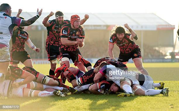 Chiefs celebrate their first try scored by Kai Horstmann during the European Rugby Champions Cup match between Exeter Chiefs and Ospreys at Sandy...