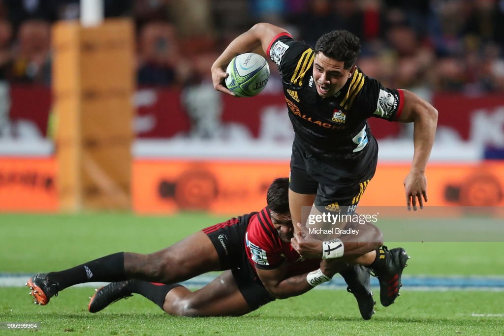 Chiefs centre Anton Lienert-Brown is tackled during the round 16 Super Rugby match between the Chiefs and the Crusaders at Waikato Stadium on June 2, 2018 in Hamilton, New Zealand.