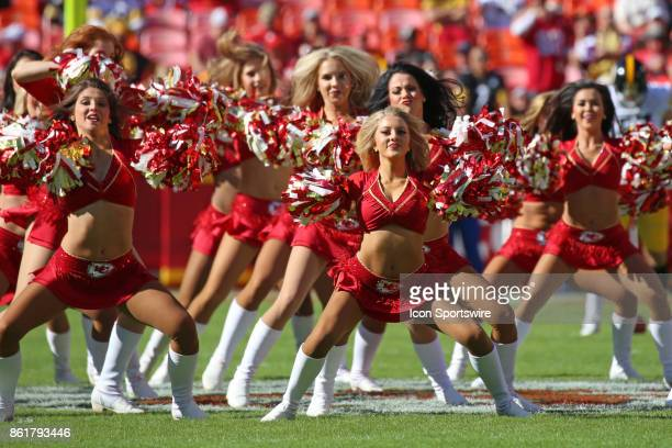 Chiefs cheerleaders perform before a week 6 NFL game between the Pittsburgh Steelers and Kansas City Chiefs on October 15 2017 at Arrowhead Stadium...