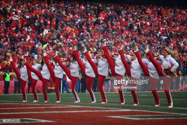 Chiefs cheerleaders perform in the first quarter of the AFC Wild Card game between the Tennessee Titans and Kansas City Chiefs on January 6 2018 at...