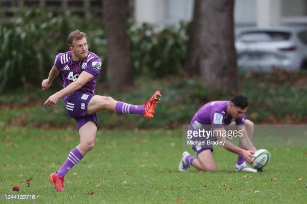 Chiefs Damian McKenzie lines up a shot at goal during a Chiefs Super Rugby training session at Ruakura Research Centre on June 04, 2020 in Hamilton,...