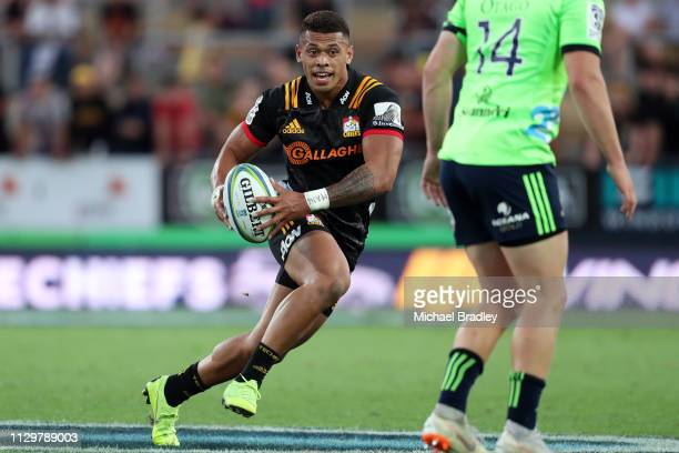 Chiefs Etene NanaiSeturo makes a break during the Chiefs v Highlanders Super Rugby Round 1 match at FMG Stadium Hamilton on February 15 2019 in...