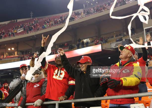 Chiefs fan celebrate a 353 win as toilet paper flies through the air after an NFL game between the Oakland Raiders and Kansas City Chiefs on December...