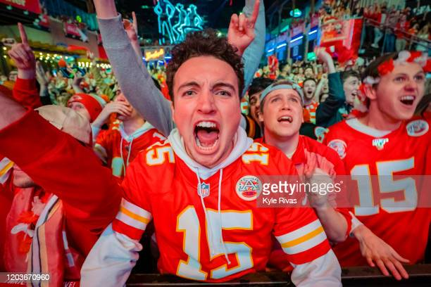 Chiefs fan screams in excitement at the Power and Light District as the Kansas City Chiefs take the lead against the San Francisco 49ers in the Super...