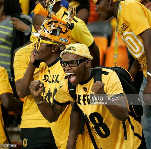 Chiefs fans celebrate as their team scores a goal during the Absa Premiership match between Kaizer Chiefs and Vasco da Gama at FNB Stadium on...