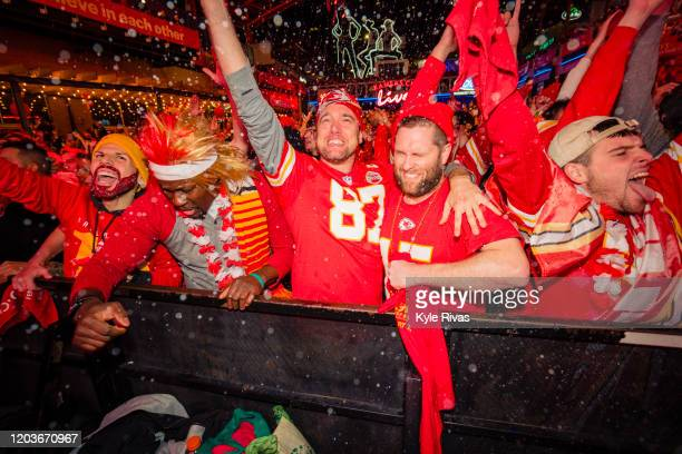 Chiefs fans celebrate at the Power and Light District as the Kansas City Chiefs take the lead against the San Francisco 49ers in the Super Bowl on...