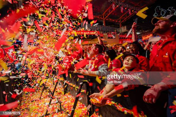 Chiefs fans celebrate at the Power and Light District as the Kansas City Chiefs defeat the San Francisco 49ers in the Super Bowl on February 2, 2020...