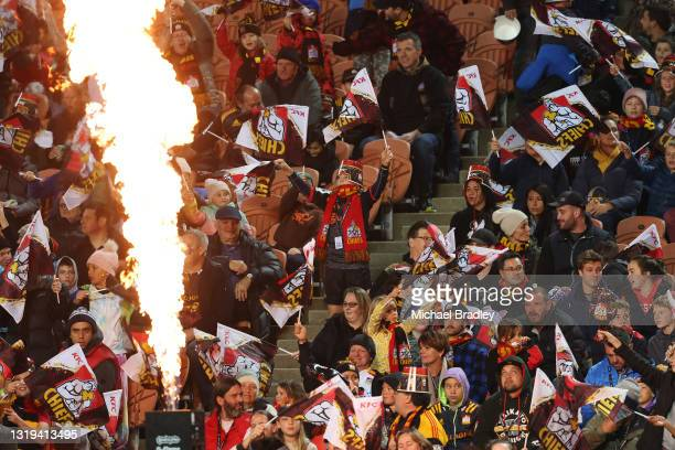Chiefs fans in action during the round two Super Rugby Trans-Tasman match between the Chiefs and the ACT Brumbies at FMG Stadium on May 22, 2021 in...
