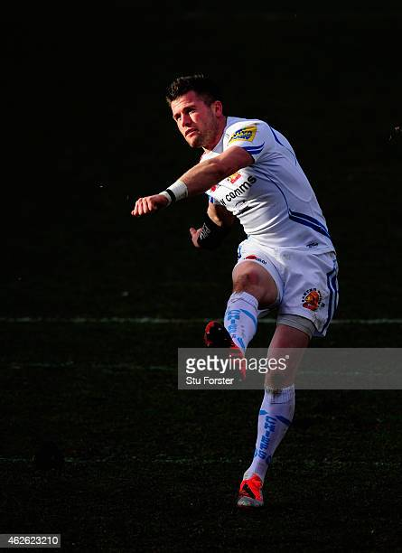 Chiefs fly half Ceri Sweeney kicks a penalty during the LV= Cup group match between Newport Gwent Dragons and Exeter Chiefs on February 1, 2015 in...