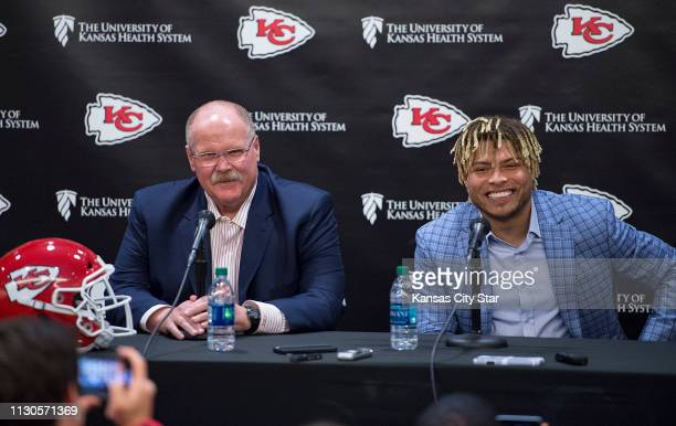 Chiefs Head Coach Andy Reid left talks about new safety Tyrann Mathieu in the Stram Theater in Kansas City Mo on Thursday March 14 2019 The Chiefs...