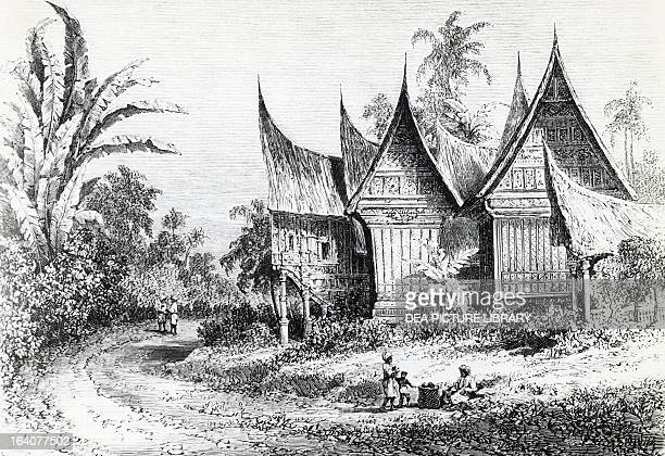 Chief's house on the Indonesian island of Sumatra engraving from Alfred Russel Wallace's expedition in Australia and the neighboring islands...