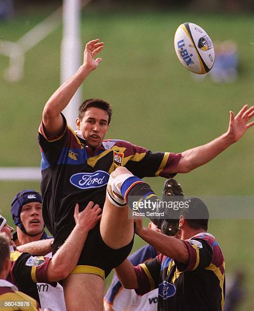 Chiefs Ian Jones in the lineout against the Golden Cats in the Super 12 match at Pukekohe Stadium Saturday