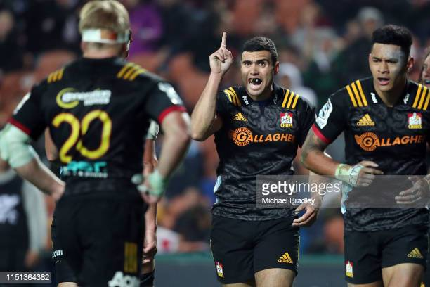 Chiefs Jack Debreczeni signals to his team mates during the round 15 match between the Chiefs and the Reds at FMG Stadium on May 24 2019 in Hamilton...