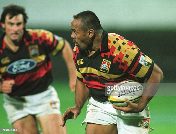 Chiefs Jonah Lomu on the burst against the Hurricanes in the Super 12 match at Rugby Park, New Plymouth, Friday. The Chiefs won 2421.