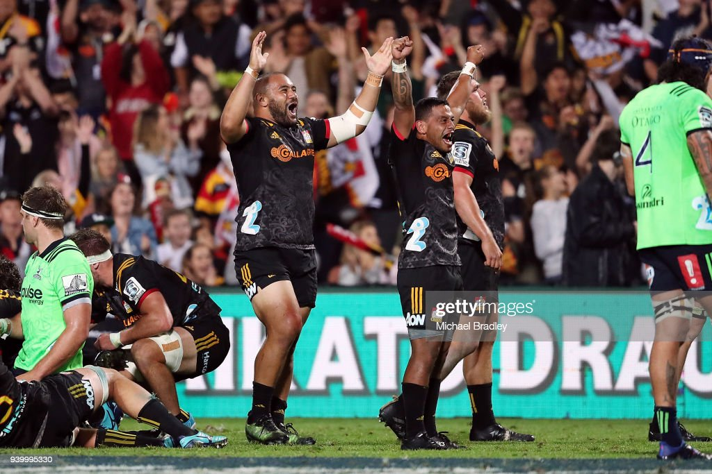 Chiefs (L-R) Karl TuÕinukuafe and Te Toiroa Tahuriorangi celebrates their win during the round seven Super Rugby match between the Chiefs and the Highlanders at FMG Stadium on March 30, 2018 in Hamilton, New Zealand.