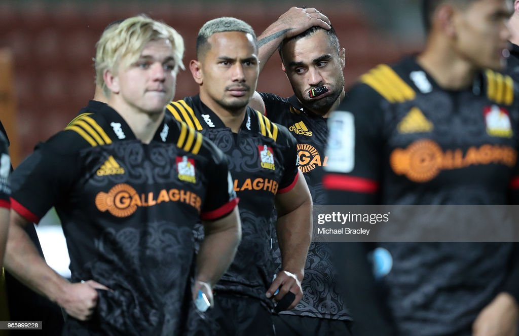 Chiefs Liam Meesam (C) looks dejected as the final whistle is blown during the round 16 Super Rugby match between the Chiefs and the Crusaders at Waikato Stadium on June 2, 2018 in Hamilton, New Zealand.