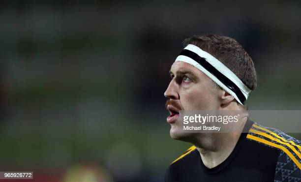 Chiefs lock Brodie Retallick warms uo prior to the round 16 Super Rugby match between the Chiefs and the Crusaders at Waikato Stadium on June 2 2018...
