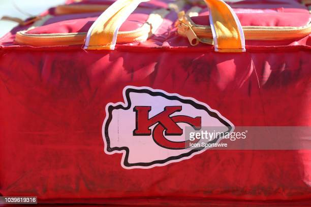 Chiefs logo on an equipment bag before a week 3 NFL game between the San Francisco 49ers and Kansas City Chiefs on September 23 2018 at Arrowhead...