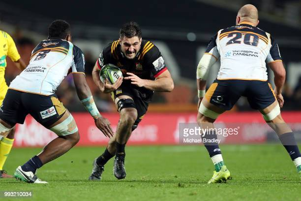 Chiefs Luke Jacobson looks to break the defence during the round 18 Super Rugby match between the Chiefs and the Brumbies at FMG Stadium Waikato on...