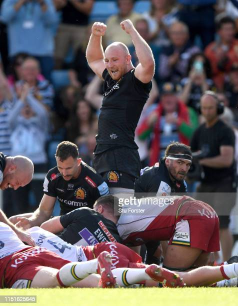 Chiefs player Matt Kvesic celebrates the 3rd Chiefs try during the Gallagher Premiership Rugby Semi Final match between Exeter Chiefs and Northampton...