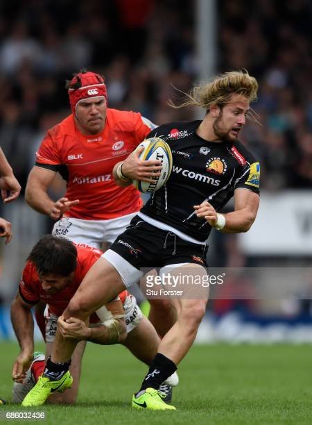 Chiefs player Michele Campagnaro in action during the Aviva Premiership match between Exeter Chiefs and Saracens at Sandy Park on May 20 2017 in...