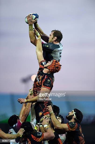 Chiefs player Ollie Atkins and Alun Wyn Jones of the Ospreys compete for lineout ball during the European Rugby Champions Cup match between Exeter...