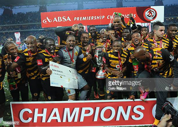 Chiefs players celebrate the trophy during the Absa Premiership match between University of Pretoria and Kaizer Chiefs at Mbombela Stadium on May 18,...