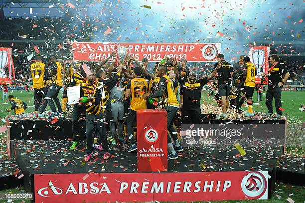 Chiefs players celebrate the win during the Absa Premiership match between University of Pretoria and Kaizer Chiefs at Mbombela Stadium on May 18,...