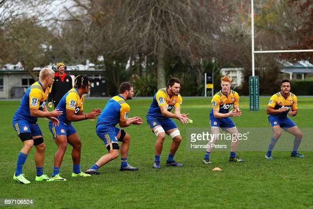 Chiefs players warm up during a Chiefs training session on June 18 2017 in Hamilton New Zealand