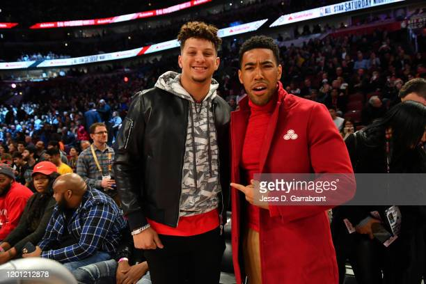 Chiefs quarterback Patrick Mahomes and Kevin Mimms attend the 2020 NBA AllStar Taco Bell Skills Challenge on February 15 2020 at the United Center in...