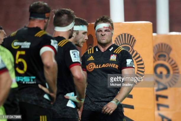 Chiefs Sam Cane looks on during the round 15 match between the Chiefs and the Reds at FMG Stadium on May 24 2019 in Hamilton New Zealand