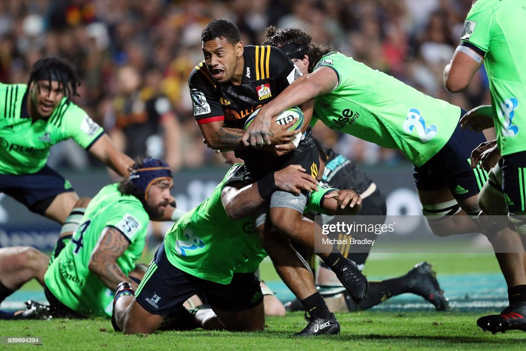 Chiefs Te Toiroa Tahuriorangi is tackled during the round seven Super Rugby match between the Chiefs and the Highlanders at FMG Stadium on March 30, 2018 in Hamilton, New Zealand.