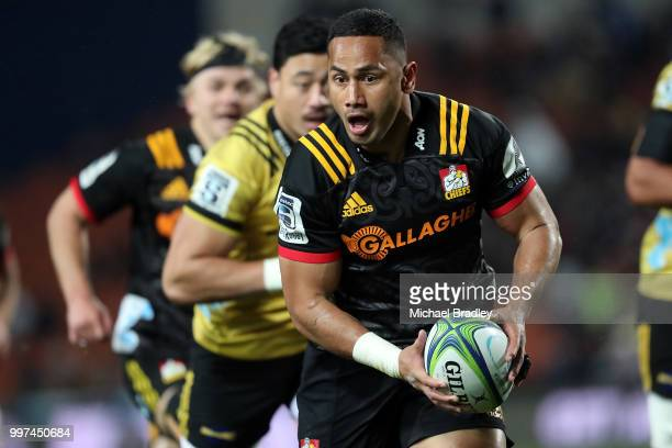 Chiefs Toni Pulu looks for support during the round 19 Super Rugby match between the Chiefs and the Hurricanes at Waikato Stadium on July 13, 2018 in...