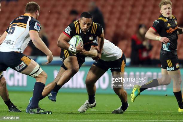 Chiefs Toni Pulu runs the ball forward during the round 18 Super Rugby match between the Chiefs and the Brumbies at FMG Stadium Waikato on July 7,...