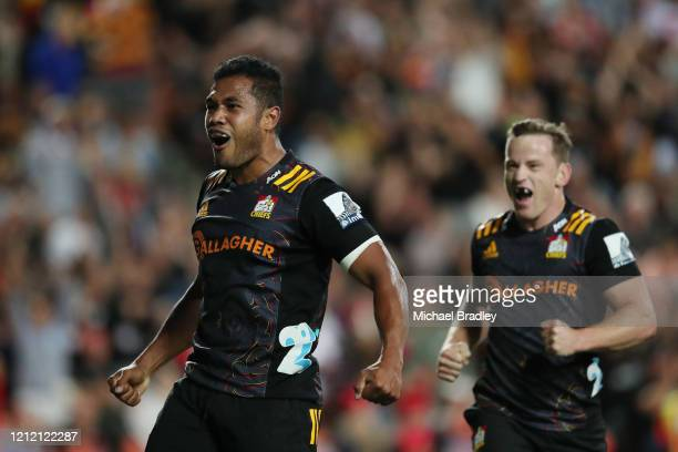 Chiefs Tumua Manu celebrates his try during the round seven Super Rugby match between the Chiefs and the Hurricanes at Waikato Stadium on March 13...