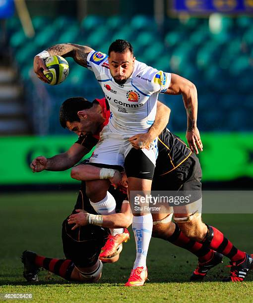 Chiefs wing Fetu'u Vainikolo bursts through the Dragons defence during the LV= Cup group match between Newport Gwent Dragons and Exeter Chiefs on...