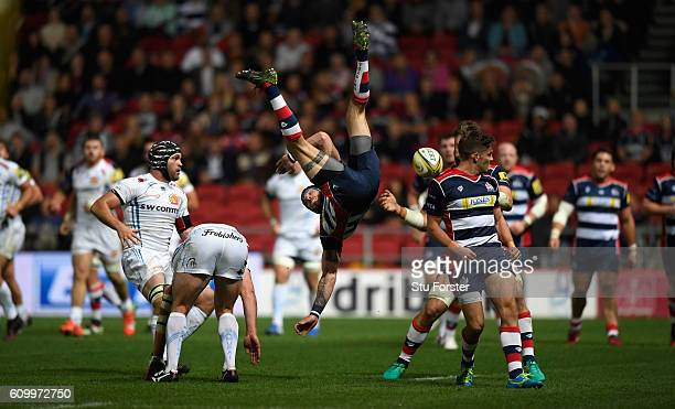 Chiefs wing Ian Whitten tackles Ryan Edwards of Bristol in mid air and is sin binned during the Aviva Premiership match between Bristol Rugby and...