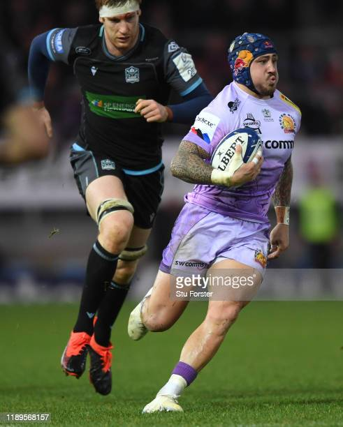 Chiefs wing Jack Nowell races through the Glasgow defence before setting up Henry Slade for the 2nd try during the Heineken Champions Cup Round 2...